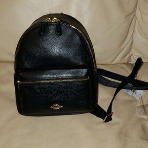Coach NWT Black Mini Charlie Leather Backpack